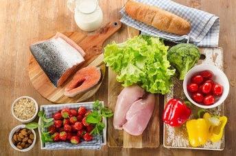 κοτόπουλο, σολωμός, ντομάτες, μαρούλι